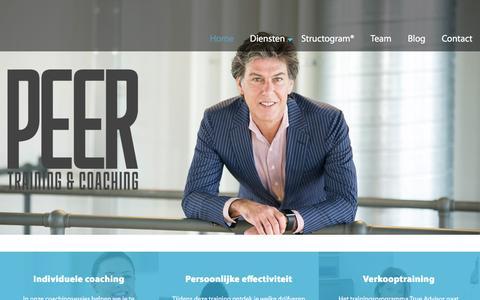 Screenshot of Home Page peer-tc.nl - PEER training & coaching - Welkom, je bent er! - captured Jan. 22, 2016
