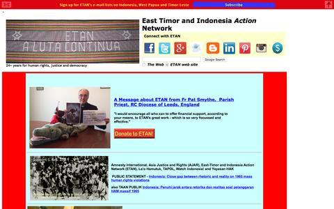 Screenshot of Home Page etan.org - East Timor & Indonesia Action Network (ETAN) - captured Oct. 19, 2016