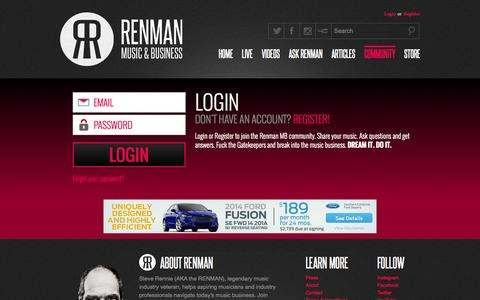 Screenshot of Login Page renmanmb.com - Renman Community Login - captured Nov. 1, 2014