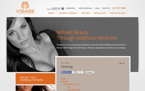 Screenshot of Site Map Page visageclinic.com - Plastic Surgery in Toronto - Sitemap for Visage Clinic - captured Oct. 7, 2014