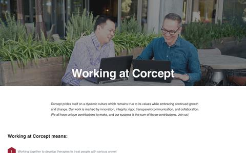 Screenshot of Jobs Page corcept.com - Careers in Cortisol Regulation Research | Corcept Therapeutics - captured Nov. 3, 2018