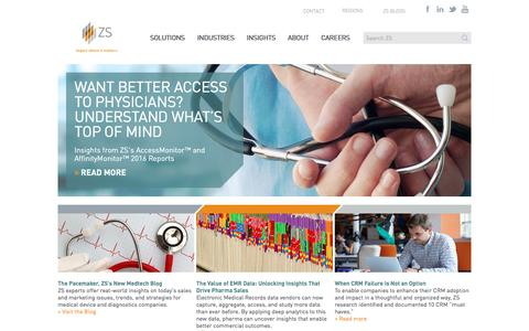 Screenshot of Home Page zsassociates.com - Sales and Marketing Consulting, Outsourcing, Technology and Software | ZS Associates - captured Dec. 21, 2016