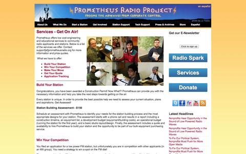 Screenshot of Services Page prometheusradio.org - Services - Get On Air!   Prometheus Radio Project - captured Oct. 3, 2014