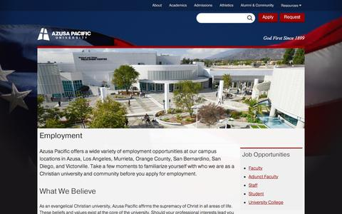 Employment - Azusa Pacific University