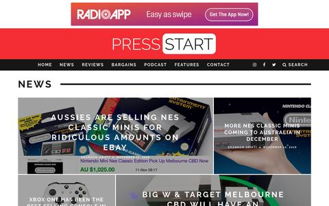 Screenshot of Press Page press-start.com.au - News | Press Start Australia - captured Nov. 11, 2016