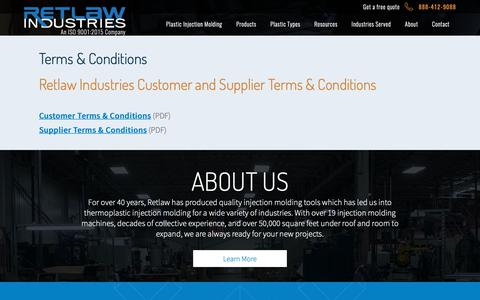Screenshot of Terms Page retlawindustries.com - Terms & Conditions | Retlaw Industries Inc. Hartland, Wisconsin - captured Oct. 20, 2018