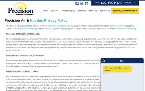 Screenshot of Privacy Page precisionairandheating.com - Privacy Policy | Precision Air & Heating - captured Nov. 11, 2019