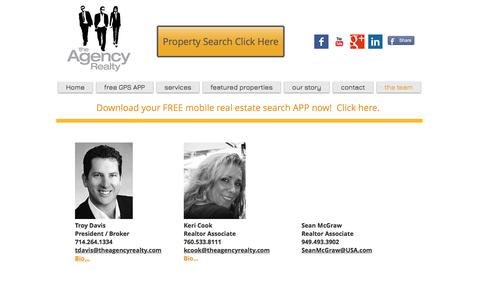 Screenshot of Team Page theagencyrealty.com - agents at the agency realty - captured Sept. 21, 2018