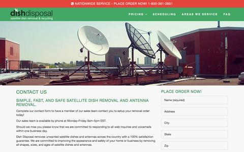 Screenshot of Contact Page dishdisposal.com - Contact Us For Local Satellite Dish Removal - Dish Disposal - captured Jan. 7, 2016