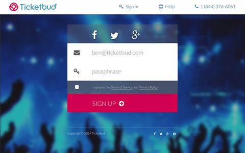 Screenshot of Signup Page ticketbud.com - Sell Tickets Online with Ticketbud | Event Management and Registration - captured Sept. 17, 2014