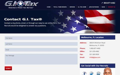 Screenshot of Contact Page gitax.com - Contact G.I. Tax® Professional Tax Service | GI Tax® | America's Finest Tax Service - captured Oct. 1, 2014