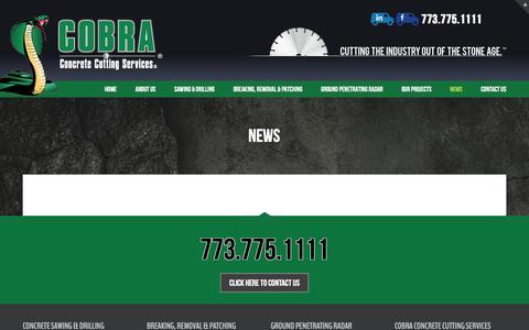 Screenshot of Press Page cobraconcrete.com - News - Cobra Concrete - captured Dec. 21, 2015