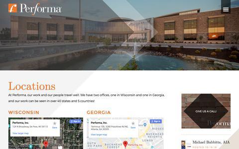 Screenshot of Locations Page performainc.com - Performa Office Locations | Performa - captured Dec. 14, 2018