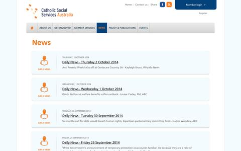 Screenshot of Press Page cssa.org.au - News — Catholic Social Services Australia - captured Oct. 2, 2014