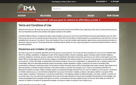 Screenshot of Terms Page ima-usa.com - Terms & Conditions ima-usa.com - captured Oct. 6, 2014