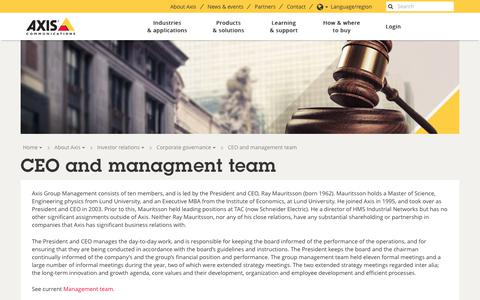 Screenshot of axis.com - CEO and managment team | Axis Communications - captured Aug. 15, 2017