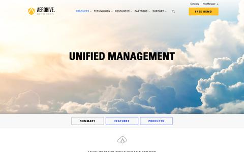 Screenshot of Products Page aerohive.com - Unified Management | Aerohive Networks - captured March 13, 2019