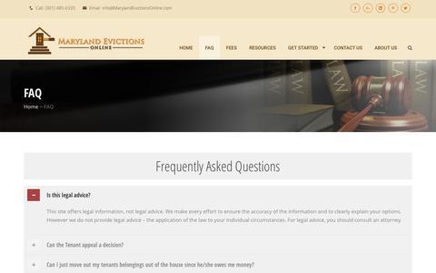 Screenshot of FAQ Page marylandevictionsonline.com - Marylandevictionsonline.com   » FAQ - captured July 26, 2018