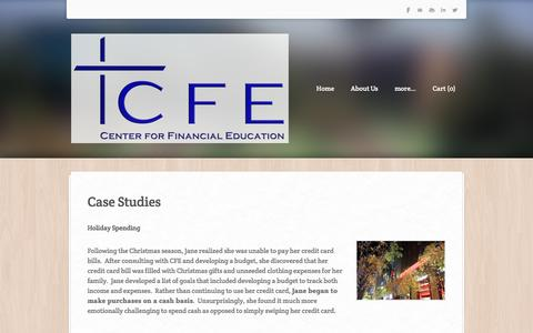 Screenshot of Case Studies Page cfeministries.org - Case Studies - Center for Financial Education - captured Jan. 26, 2016