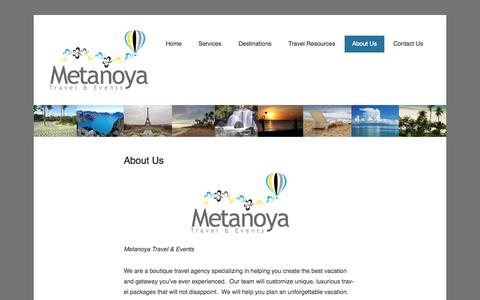 Screenshot of About Page metanoyatae.com - About Us | Metanoya Travel and Events - captured Oct. 27, 2014
