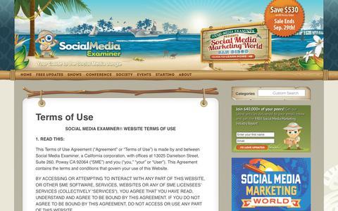 Screenshot of Terms Page socialmediaexaminer.com - Terms of Use : Social Media Examiner - captured Sept. 23, 2017