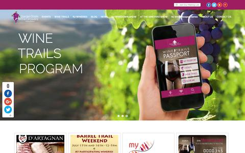 Screenshot of Home Page newjerseywines.com - Home - Garden State Wine Growers Association - captured July 15, 2017