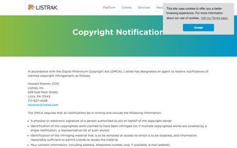 Copyright Infringement Notification | Listrak