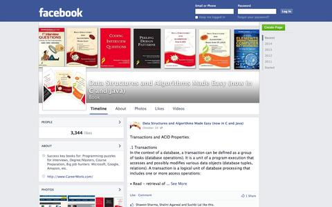 Screenshot of Facebook Page facebook.com - Data Structures and Algorithms Made Easy (now in C and Java)   Facebook - captured Oct. 22, 2014