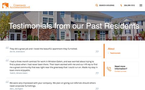 Screenshot of Testimonials Page corporate-accommodations.com - Reviews of Executive Rentals in Winston-Salem from Corporate Accommodations - captured July 22, 2018