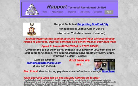 Screenshot of Press Page rapporttechnical.com - News from Rapport Technical Recruitment - captured Oct. 7, 2014
