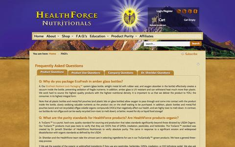 Screenshot of FAQ Page healthforce.com - FAQ's | HealthForce - captured Sept. 19, 2014