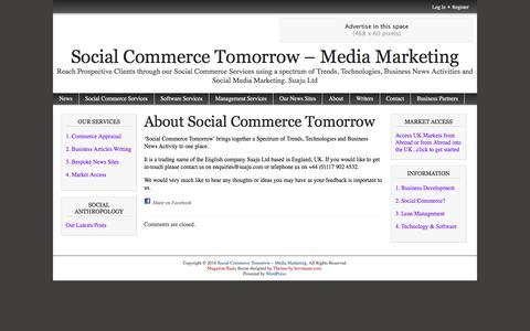 Screenshot of About Page newsinuk.info - About Social Commerce Tomorrow | Social Commerce Tomorrow - Media Marketing - captured May 23, 2016