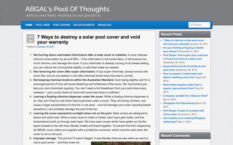 Screenshot of Blog abgal.com.au - ABGAL's Pool Of Thoughts | Advice and hints relating to our products. - captured Sept. 26, 2017