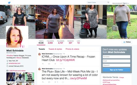 Screenshot of Twitter Page twitter.com - Misti Schindele (@entertainista) | Twitter - captured Oct. 23, 2014