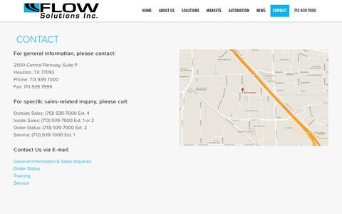 Screenshot of Contact Page flowsolutionsinc.com - Contact Flow Solutions Inc. - Flow Solutions, Inc - captured Aug. 18, 2018