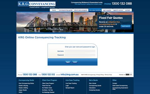 Screenshot of Login Page krg.com.au - KRG Conveyancing Brisbane | Queensland Conveyancing Solicitors - captured Oct. 6, 2014