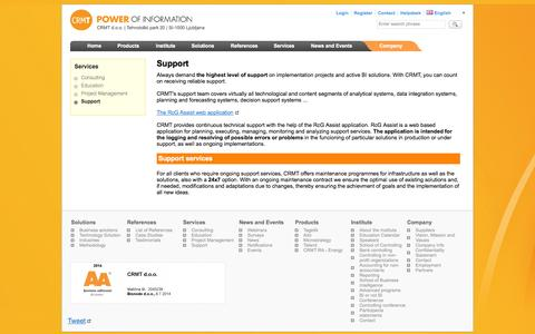 Screenshot of Support Page crmt.com - Support :: CRMT - captured Oct. 1, 2014