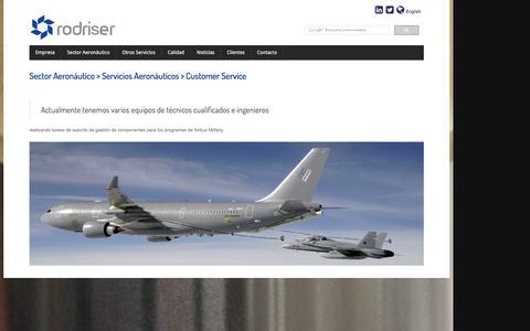 Screenshot of Support Page rodriser.es - Sector Aeronáutico - Servicios Aeronáuticos - Costumer Service - captured Feb. 27, 2016