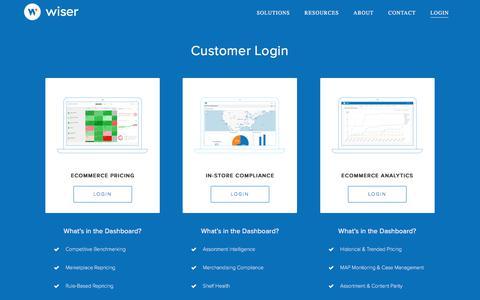 Screenshot of Login Page wiser.com - Dashboard Login - Wiser Solutions, Inc. - captured Jan. 6, 2018
