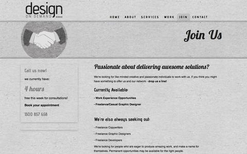Screenshot of Signup Page designondemand.com.au - Join Us   Design on Demand - Creative Design Agency based in Brunswick, Melbourne. Branding, Print & Web Design Solutions - captured Oct. 7, 2014