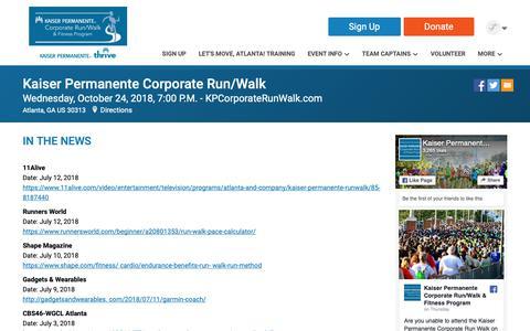 Screenshot of Press Page runsignup.com - Kaiser Permanente Corporate Run/Walk: In The News - captured Oct. 14, 2018