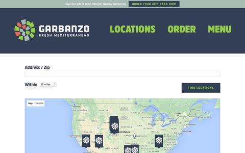 Screenshot of Locations Page eatgarbanzo.com - Locations - Garbanzo - captured Jan. 26, 2016