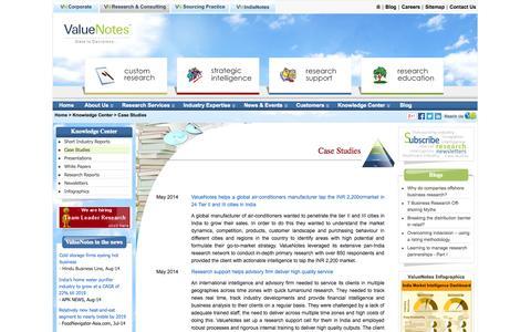 Screenshot of Case Studies Page valuenotes.biz - ValueNotes Case Studies - Research, Competitive Intelligence, IT,  Voice of Customer, HDFC Life - captured Sept. 23, 2014
