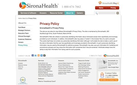Screenshot of Privacy Page sironahealth.com - Privacy Policy | SironaHealth - captured Sept. 19, 2014