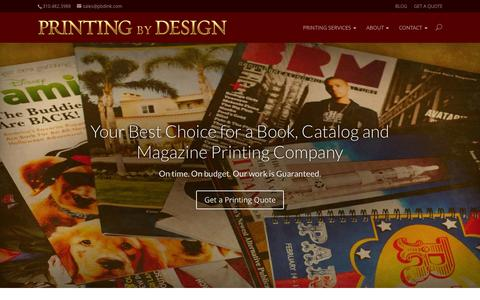 Screenshot of Home Page pbdink.com - Your Printing Company of Choice | Printing By Design - captured Oct. 1, 2015