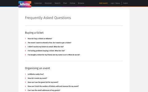 Screenshot of FAQ Page billetto.co.uk - Find and buy tickets for niche and underground events - Billetto.co.uk - captured Sept. 13, 2014