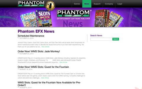 Screenshot of Press Page phantomefx.com - Phantom EFX News : Williams Interactive / Phantom EFX - captured Oct. 28, 2014
