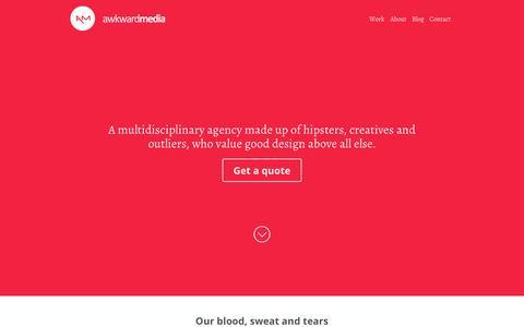 Screenshot of Home Page awkward-media.com - Home — Awkward Media - captured Sept. 30, 2014