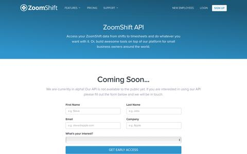 Screenshot of Developers Page zoomshift.com - ZoomShift API - Coming Soon — ZoomShift - captured March 11, 2016