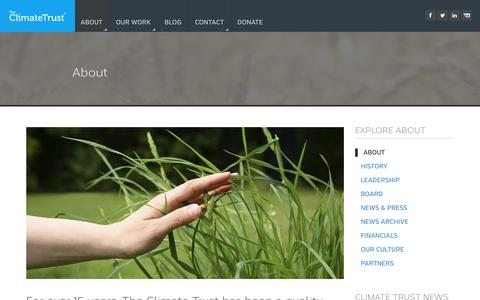 Screenshot of About Page climatetrust.org - The Climate Trust |   About - captured Oct. 25, 2014